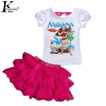 KEAIYOUHUO Children Clothing Sets 2018 MOANA Girls Clothes Sets T-shirt+Tutu Skirt Suit Summer Girls Sport Suit Costume For Kids