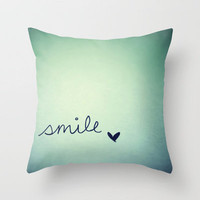 s  m  i  l  e  Throw Pillow by Rubybirdie | Society6