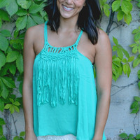 Fringe Detail Braided Strap Top in Jade