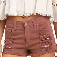 Cut-Off the Map Rusty Rose Distressed Jean Shorts