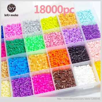 Let's Make 5mm Perler Beads 28 Colors 18000pcs Box Set(3 Template+5 Iron Papers+2Tweezers) Fuse/Hama Beads Diy Baby Toys Gift