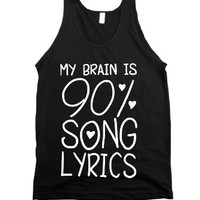 90% Song Lyrics-Unisex Black Tank