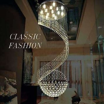 LED k9 Crystal Chandelier Pendant Lighting Hanging Ceiling Lamps Fixtures with LED Source Clear K9 Crystal Free shipping
