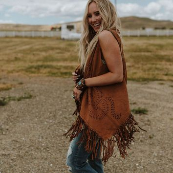 West Coast Fringe Sueded Vest - Brown
