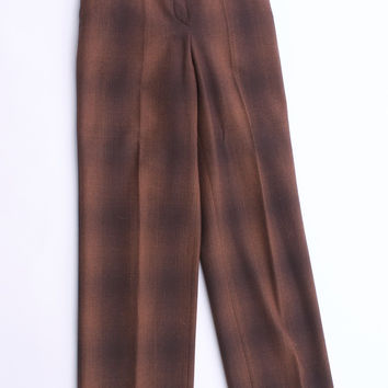 GUNEX Italy Brown  Virgin Wool Blend Plaid Trousers Size 4 US 40 Euro