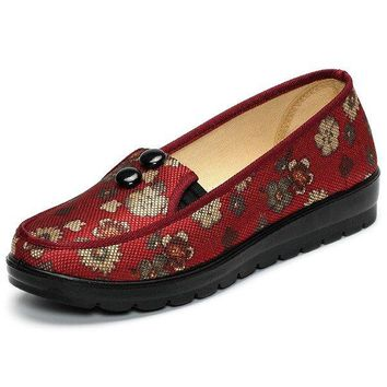 Button Retro Slip On Flower Print Flat Mesh Breathable Casual Shoes