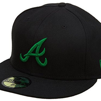 New Era Atlanta Braves Fitted Hat Mens Style: HAT791-Blk/Grn Size: 7 5/8