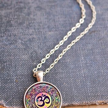 Rainbow Om Symbol Necklace