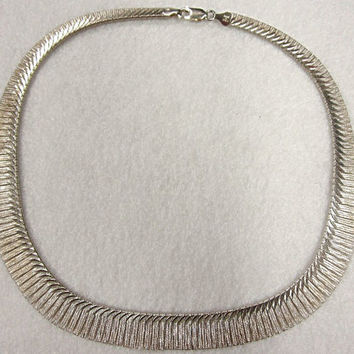 Sterling Silver Egyptian Revival Fringe Choker Necklace Collar Italy