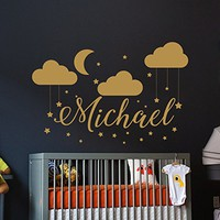 Name Wall Decal Baby Nursery Wall Decal Boy Name For Son's Nursery Vinyl Decal Clouds Wall Decor Moon Stickers Decal Star Art Decor SN79