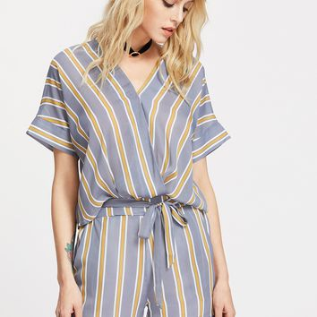 Striped Surplice Tie Bow Top With Cuffed Shorts