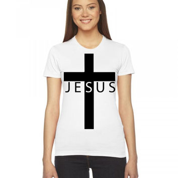 jesus cross Ladies Fitted T-Shirt