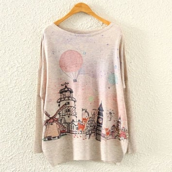 Batwing Long Sleeve Castle Print Knit Sweater (Color: Beige) = 1946634820