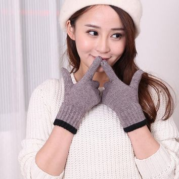 Fashion Winter Women Cashmere Gloves Casual Touch Screen Warm Knitted Mittens Solid Driving Gloves Free Size