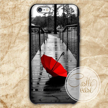 Red Umbrella iPhone 4/4S, 5/5S, 5C Series Hard Plastic Case