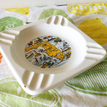Vintage Florida Souvenir Ashtray, Kitschy Florida Ashtray, Groovy Sunshine State Ashtray, Fun 1950's Ashtray, Florida State Map Ashtray
