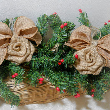 Ready to Ship! Set of 2 Burlap Rose Bow Christmas Ornaments handmade of natural burlap and twine. Will ship priority mail within 24 hours!