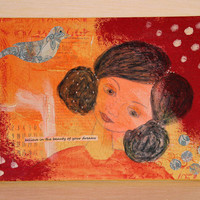 Mixed Media Painting of a Young Woman, Portrait of a Woman, Original Artwork on 9x12 Canvas, Orange and Red, Home Decor, Wall Hanging