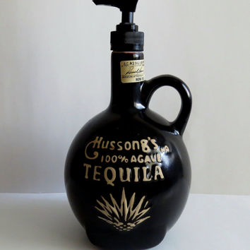 Soap Dispenser, Recycled bottle dispenser, Tequila bottle, little brown jug, Lotion dispenser, Home decor