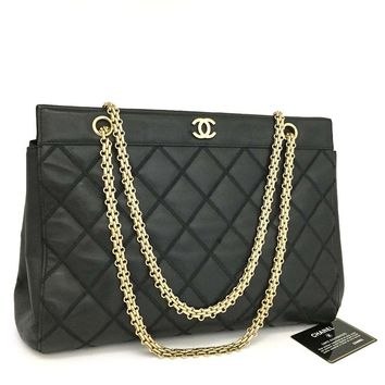 CHANEL Quilted Matelasse Lambskin CC Logo Chain Shoulder Tote Bag Black /o225