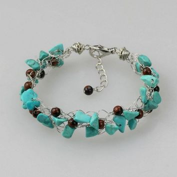 Chunky crocheted wiring turquoise Bracelet Bridesmaid gifts Free US Shipping handmade Anni designs
