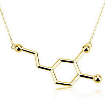18K Gold Plated Dopamine Molecule Necklace, Chemistry Necklace, Biochemistry Necklace, Science Jewelry