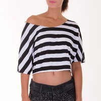 BLACK STRIPE CROP TOP @ KiwiLook fashion