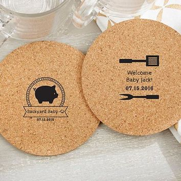 Personalized Round Cork Coasters - Bbq (Set Of 12)