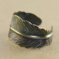 Antique Bronze feather adjustable ring