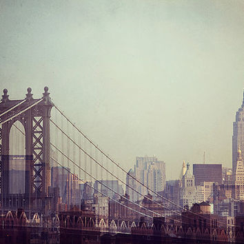 Manhattan Bridge and Empire State Building, New York Photography, Fine Art Print, NYC Skyline, Pastel Mint Green - 8 Million Stories