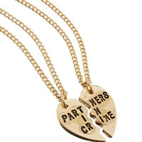 Partners in crime necklace, best friends necklace, best friends jewelry