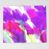 Meadow Flowers Abstract 2 Throw Blanket by Jen Warmuth Art And Design
