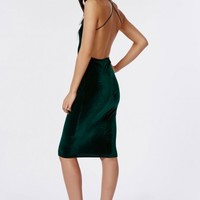 Missguided - Freda Velvet Strappy Midi Dress Deep Green