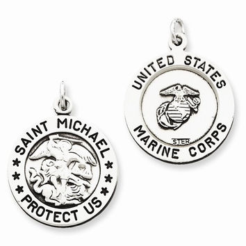 Sterling Silver Antiqued Saint Michael Marine Corp