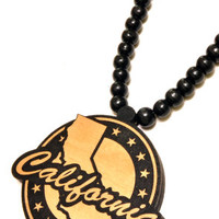 Map of California round Wood Pendant in Black
