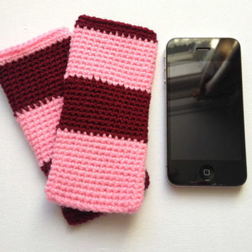 iPhone 5 Sleeve, Pink and Red Stripes, Cell Phone Case, Chunky Stripe Sleeve, Hand Crocheted, Cherry and Raspberry, Small Knit Cosy