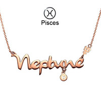 12 Constellations Titanium Rose Gold Plated Necklace(Pisces)