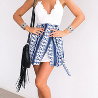 Cross Hem Lace Backless Mini Dress