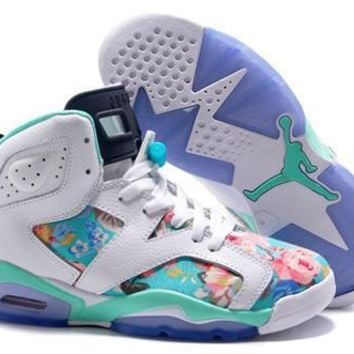Hot Air Jordan 6 Retro Women Shoes Colorful White Green