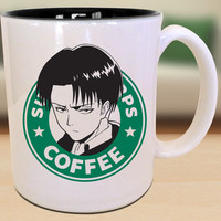 Levi Ackerman Survey Corps Attack on Titan Starbucks Anime Manga Japanese Insipred Cartoon Geek Nerd Mug