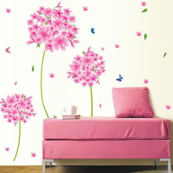 Pink Dandelion flower love Vinyl Wall Stickers Home Decor Art Decals Wallpaper Bedroom Sofa house decoration adesivo de parede