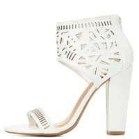 Bamboo Laser Cut-Out Ankle Cuff Heels by Charlotte Russe