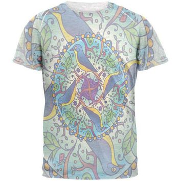 CREYCY8 Mandala Trippy Stained Glass Spring Birds Mens T Shirt