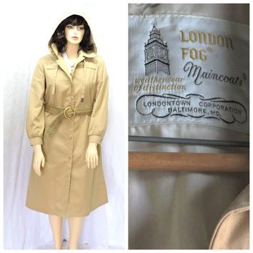 Vintage 80s London Fog trench coat L  1980s tan trench / rain coat with hood fully lined size 14 vintage Woman's Trench coat SunnBohoVintage