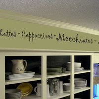 Coffee Kitchen Words Border Vinyl Wall Decor- Cafe- Vinyl Wall Decal Kitchen Decor