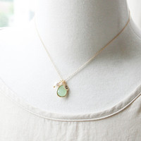 Apple Mint Stone Necklace, with Swarovski pearl and Initial Necklace. Personalized Necklace. Bridesmaid Gift Necklace, Maid of Honor Gift