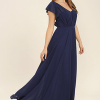 Falling For You Navy Blue Maxi Dress