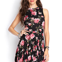 FOREVER 21 Knit Cutout Rose Dress