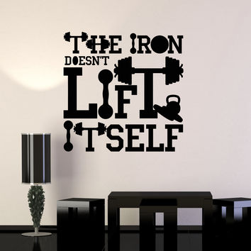 Vinyl Wall Decal Gym Motivation Quote Iron Sport Fitness Art Stickers Mural Unique Gift (ig5046)