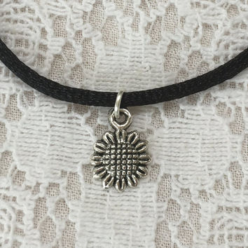 Sunflower Choker Necklace 90s choker necklace black cord choker necklace